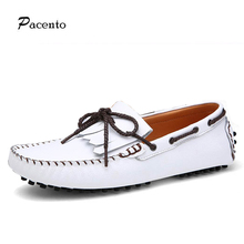 2016 PACENTO Summer Causal Tassel Shoes Men White Loafers Shoe Genuine Leather Moccasins Men s Boat