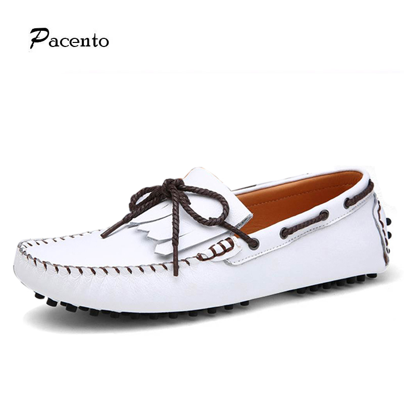 2016 PACENTO Summer Causal Tassel font b Shoes b font Men White Loafers font b Shoe