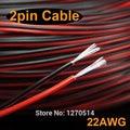 100 m/lote, 2 pin cable rojo negro, cobre estañado cable 22awg, UL2468 #22AWG cable PVC cable aislado, alambre eléctrico, cable LED