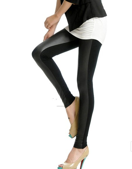 FREE SHIPPING   Womens Fashion Leather Patch Legging For Women Jean Pants Long PU Faux Leather + Cotton Trousers Black