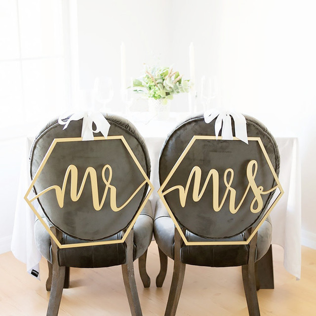 mr and mrs chair signs pedicure replacement parts geometric sign wood wedding calligraphy geometrical photo prop in party diy decorations from home