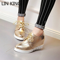 LIN KING New Women Pumps Solid Thick Sole Wedges Lace-Up Slim Autumn Platform Shoes Party Office Work Round Toe High Heel Shoes