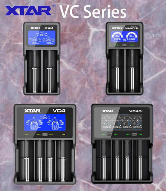 XTAR VC2 VC2 plus VC4 VC2S VC4S  battery charger for 10440/16340/14500/14650/18350/18500/18650/18700/21700/20700/17500