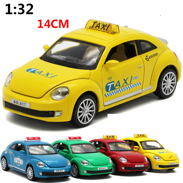 For Volkswagen Beetle Taxi Alloy Car Model Light Music Pull Back Auto Mobile Slgoed Cast Sd Vw Toy Vehicles