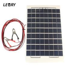 Leory 12 В 10 Вт Солнечный Панель поликристаллического клетки DIY солнечной Модуль эпоксидной смолы с блок диода 2 зажимами 4 м кабель