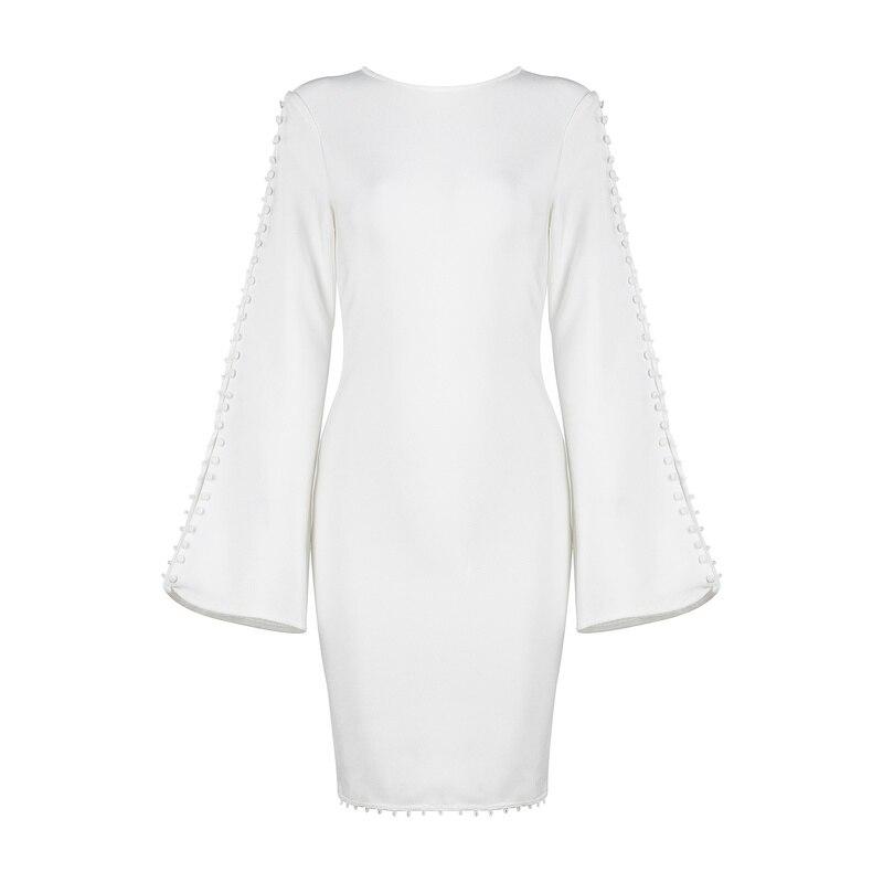 Soirée Qualité Robes Longues De Hiver Bandage Femmes Noir Blanc Automne 2017 Sexy Haute Manches Robe Nouvelle Flare T1xqwqnHa
