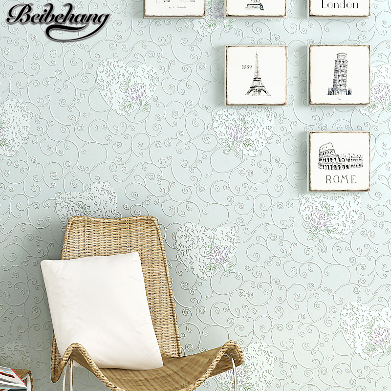 Beibehang pastorale 3D stéréo papier peint papier peint papier peint coeur chaud salon enfants chambre plein papier peint papel de parede