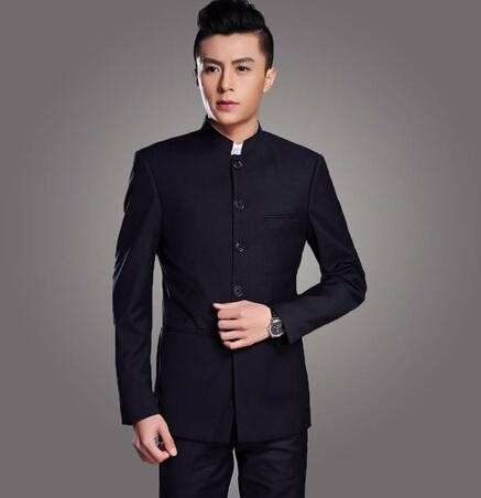Stand Collar Chinese Tunic Men Suit Set Latest Coat Pant Designs Suits Groom Costume Made Plus Size (Jacket+Pant) New Arrival