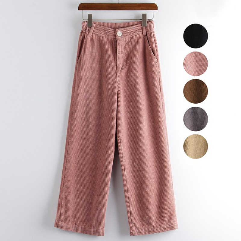 878276a1d30 Mferlier Winter Pants Women Solid Loose Wide Leg Pants Mori Girl Casual  Pink Gray Black Khaki