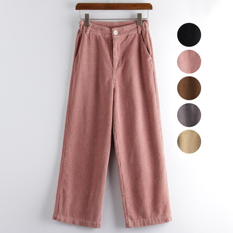 Mferlier Winter Pants Women Solid Loose Wide Leg Pants Mori Girl Casual Pink Gray Black Khaki Ankle Length Corduroy Pants