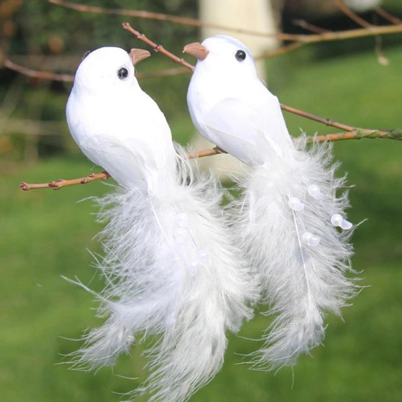 10Pcs Artificial Foam Feather White Doves Birds Figure Garden Wedding Decor