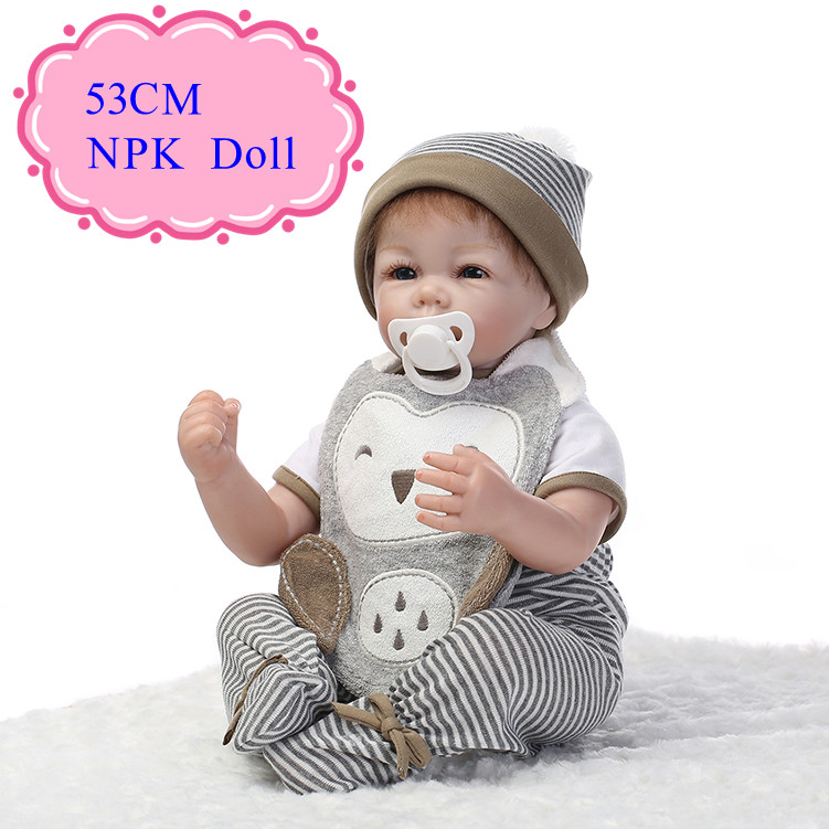 53cm 21inch 100% Safe Material NPK Brand Silicone Reborn Dolls With Free Gift Magnetic Pacifier Festival Reborn Doll Brinquedos 52cm 21inch npk brand kawaii reborn baby dolls made by 100