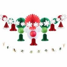 22 pcs/set Christmas Decorations for party 2018 Snowflake Tree Ornaments DIY Party Decoration Supplier Paper Fan Bells