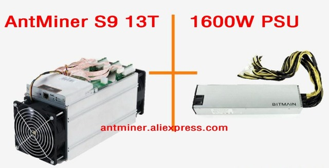 2017 AntMiner S9 13T + 1600W PSU 13Th/s Bitmain 13000Gh/s Asic Miner Bitcon Miner 16nm BTC Mining Power Consumption 1300w SHA256