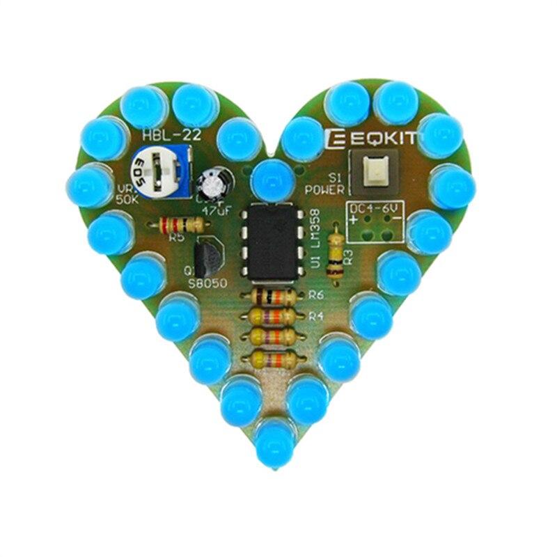 Love Heart shaped LED Blue Light Water Electronic Suite Set Gift DIY Kit UK