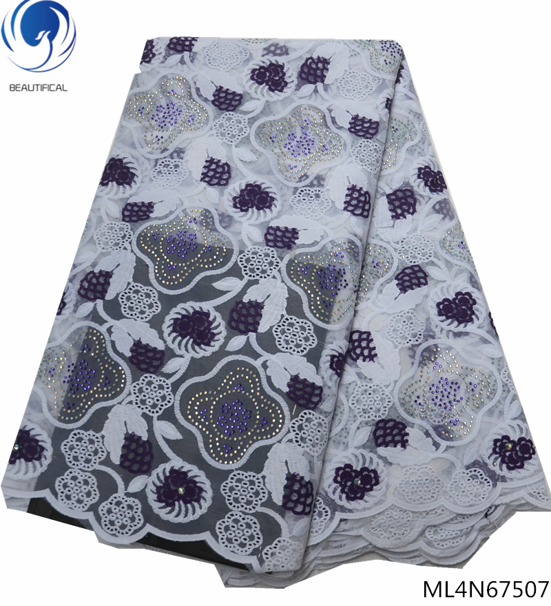 BEAUTIFICAL 2019 african lace fabric nigerian embroidered fabrics with lots rhinestones ML4N675