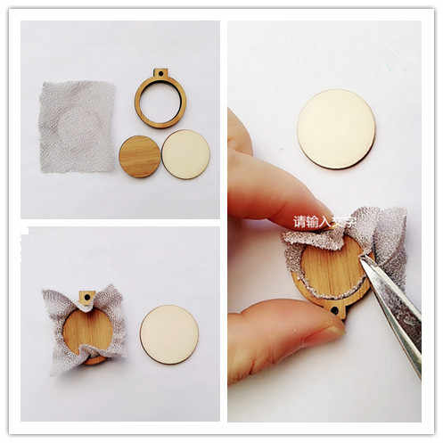 Easy Install Natural Wooden Mini Embroidery Jewelry Tiny Hoops Pendants Frame Set Rings DIY Cross Stitch Needle Craft Tool Decor