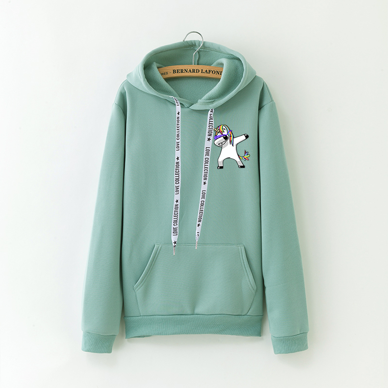 Fashion Cartoon Unicorn Print Hoodies Women Tops Plus Velvet Warm Casual Harajuku Hooded Sweatshirt Autumn Winter New 11 Colors