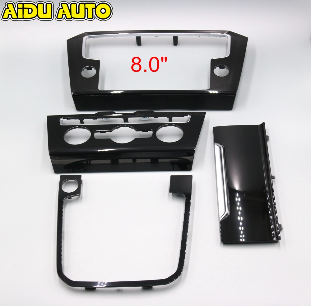 For VW Passat B8 Radio frame PANEL CD Plates Air Conditioning Switch Plates Piano Paint Black