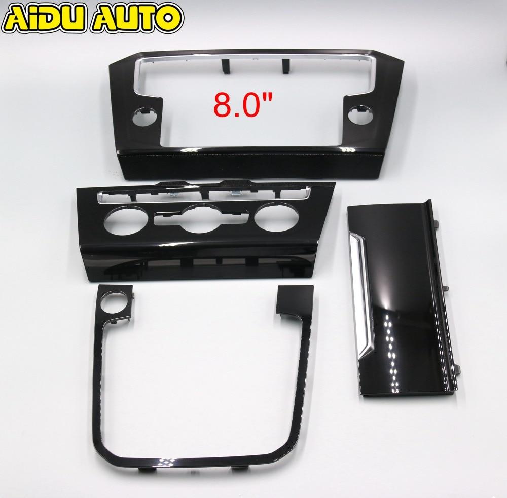 Voor VW Passat B8 Radio frame PANEL CD Platen Airconditioning Schakelaar Platen Pianolak Zwart