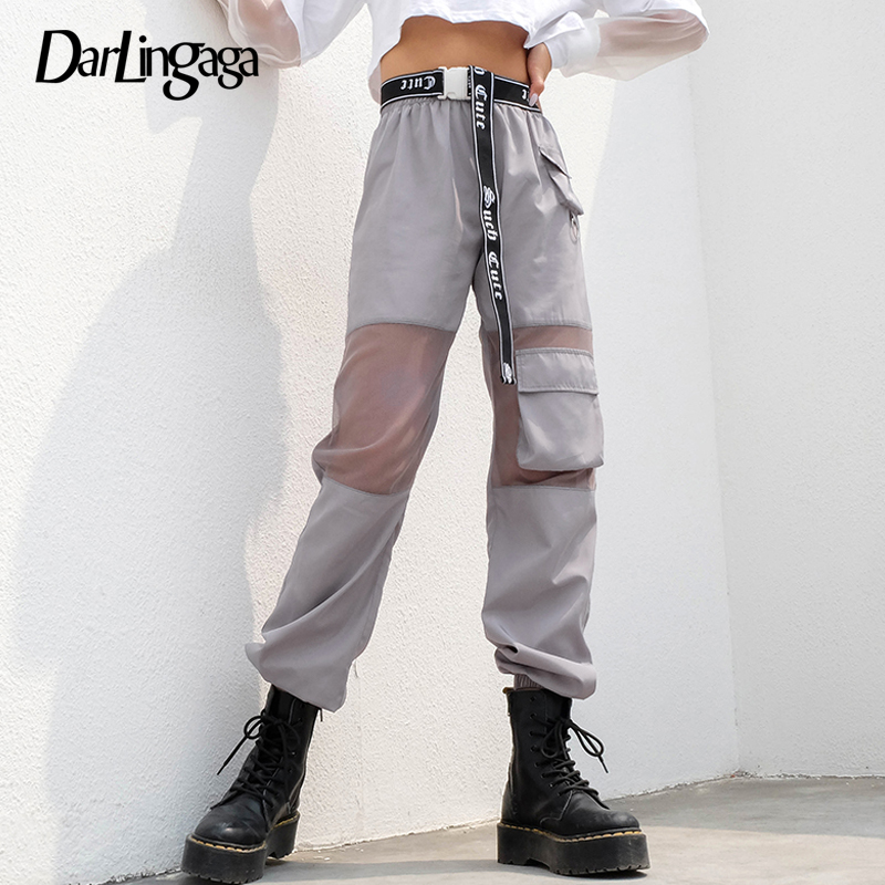Darlingaga Streetwear Transparent Mesh Pants Women Joggers Patchwork Pockets Loose Trousers Track Pants Cool Summer Bottom 2019