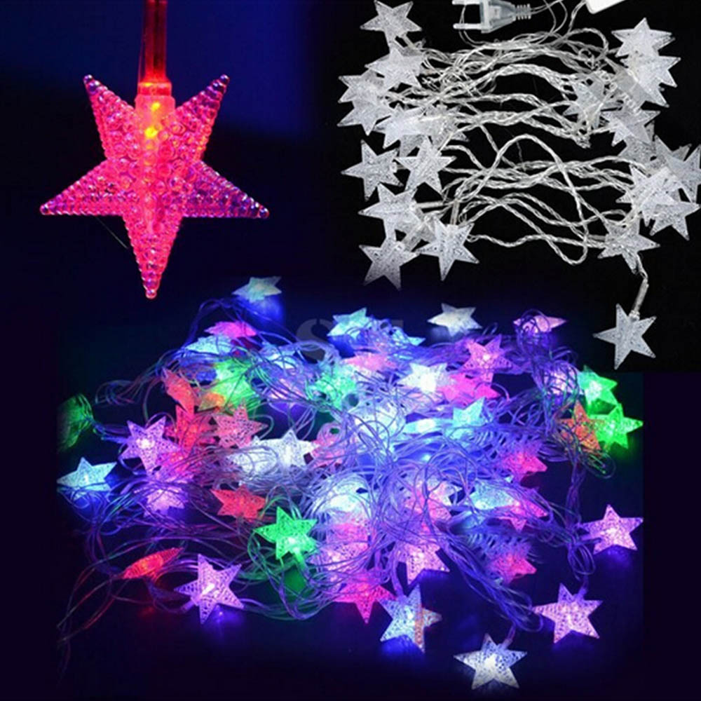 70leds 10m 110v/220v LED Stars string bulb Christmas festival Light fairy Light Bulb Garland Birthday Party Garden Decoration