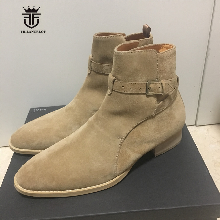 Wedge Comfortable Ankle Strap Luxury Genuine Leather MID High Men Pointed Toed Suede Leather Boots Handmade Denim Kanye Boots 2017 luxury handmade pointed toe ankle fringe tassel short boots high end designed men genuine leather suede boots