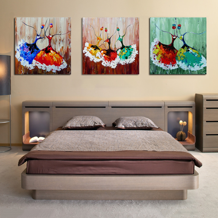 Unframed 3PC Modern Abstract Ballet Dancer Hand Painted Oil Painting On Canvas Wall Art Picture For Living Room Home Decoration
