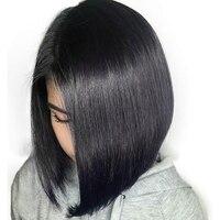 250 Плотность Боб парик 13X4 бразильский Синтетические волосы на кружеве человеческих волос парики для женский, черный прямой короткий парик п