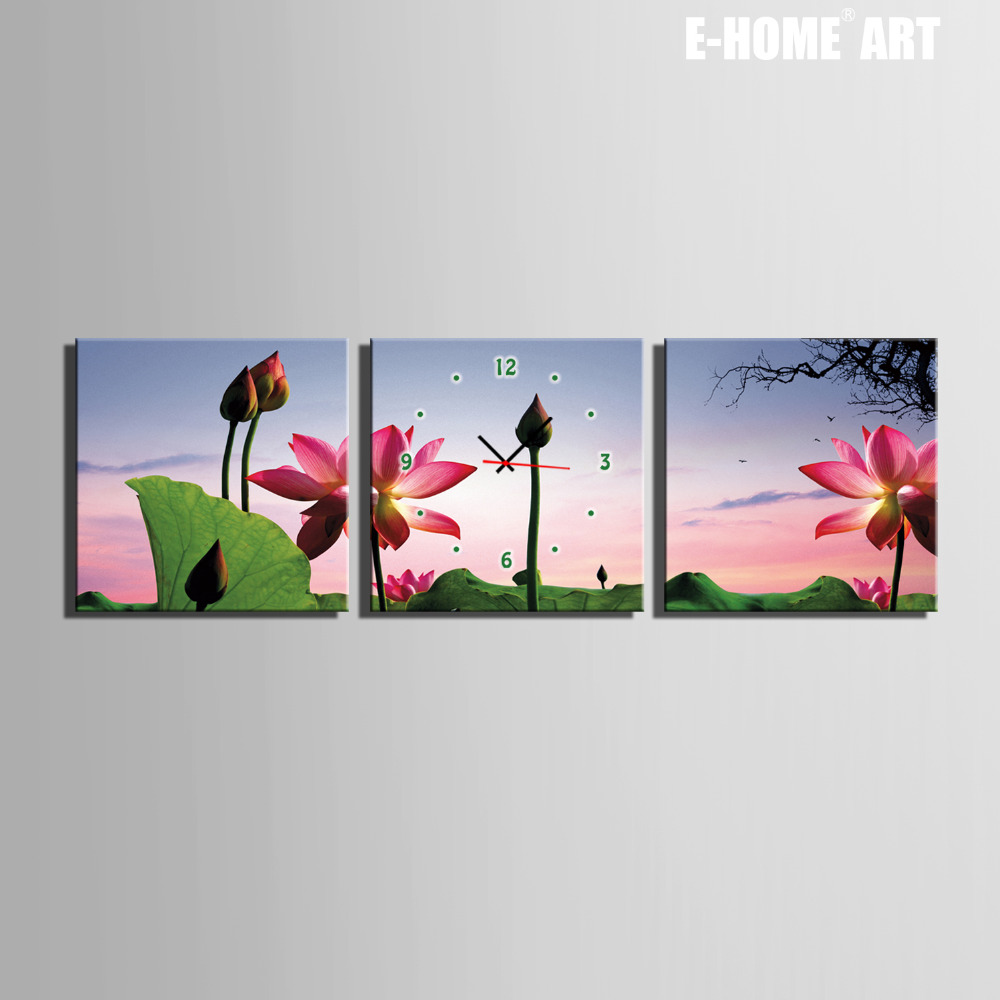 Free Shipping E Home Lotus Clock In Canvas 3pcs Wall Clock A779