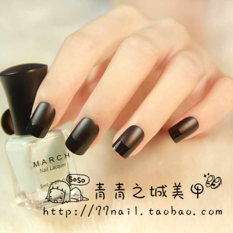 High quality Matte black color false nails set Short size full ...