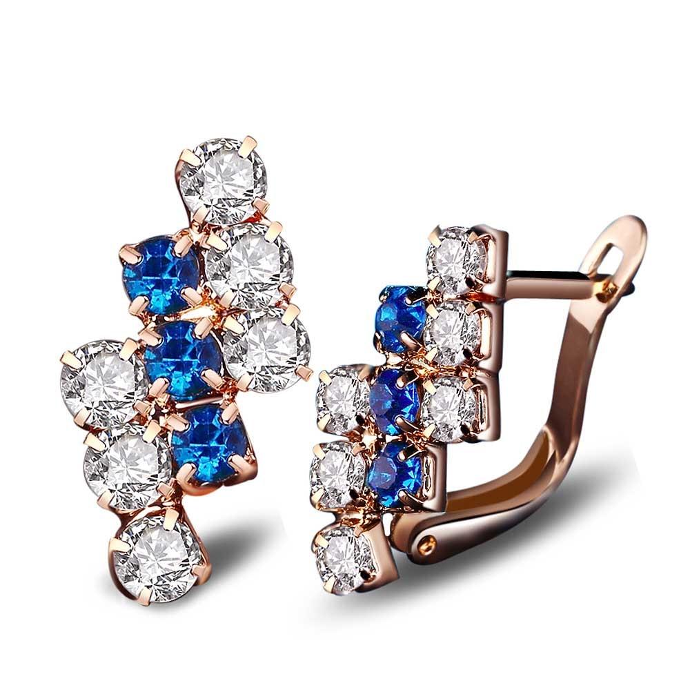 Blue Crystal Stud Earrings For Women Cz Diamond Gold Plated  Earring Retro Earings