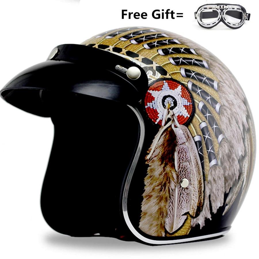 цена на vintage motorcycle helmets Custom with gift goggles Italian approved helmet 3/4 Shell Harley Motorcycle Helmet