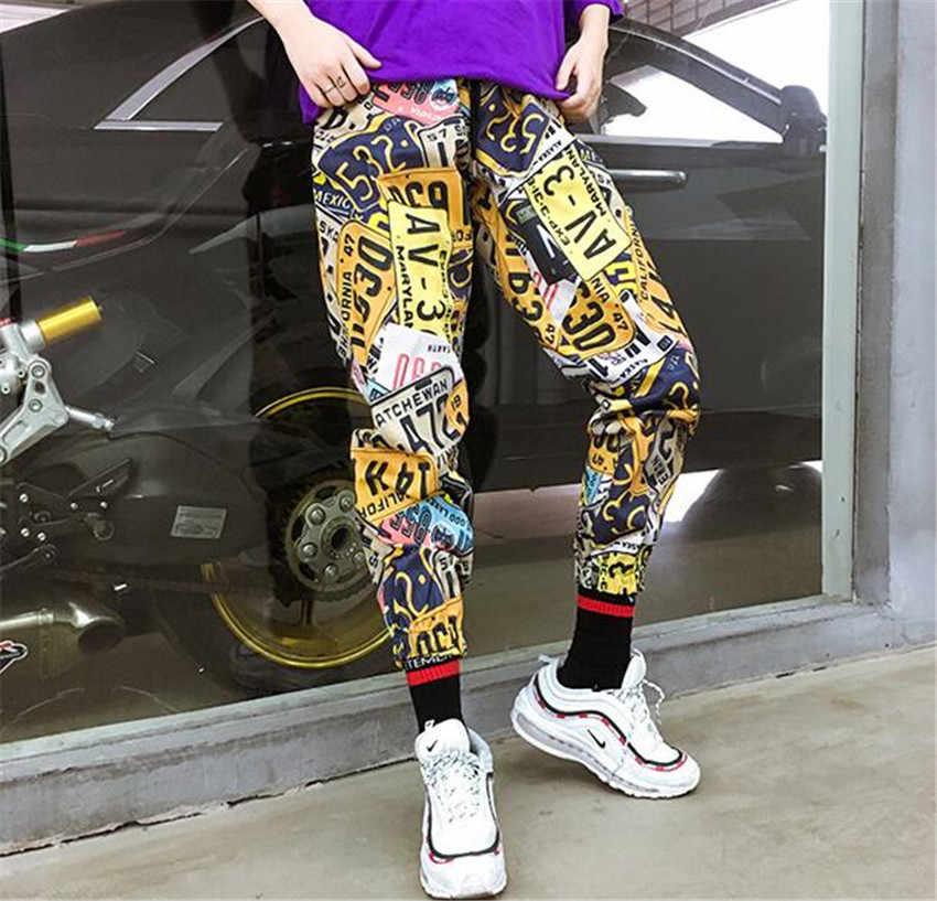 2018 новые высокие уличные лицензионные печать рисунка Мужские штаны из хлопка модные брендовые повседневные Хип-хоп стильные мужские и женские укороченные брюки