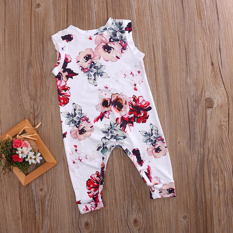 Aranyos újszülött romper nyári ruhát ruhát lány virágos - Bébi ruházat - Fénykép 3