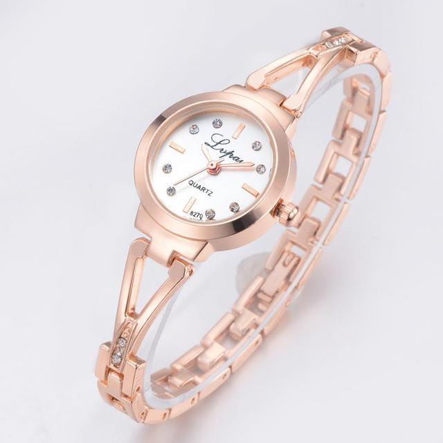 Lvpai Brand Wristwatch Diamond Bracelet Watch Woman Fashion Gold Ladies Dress Wo