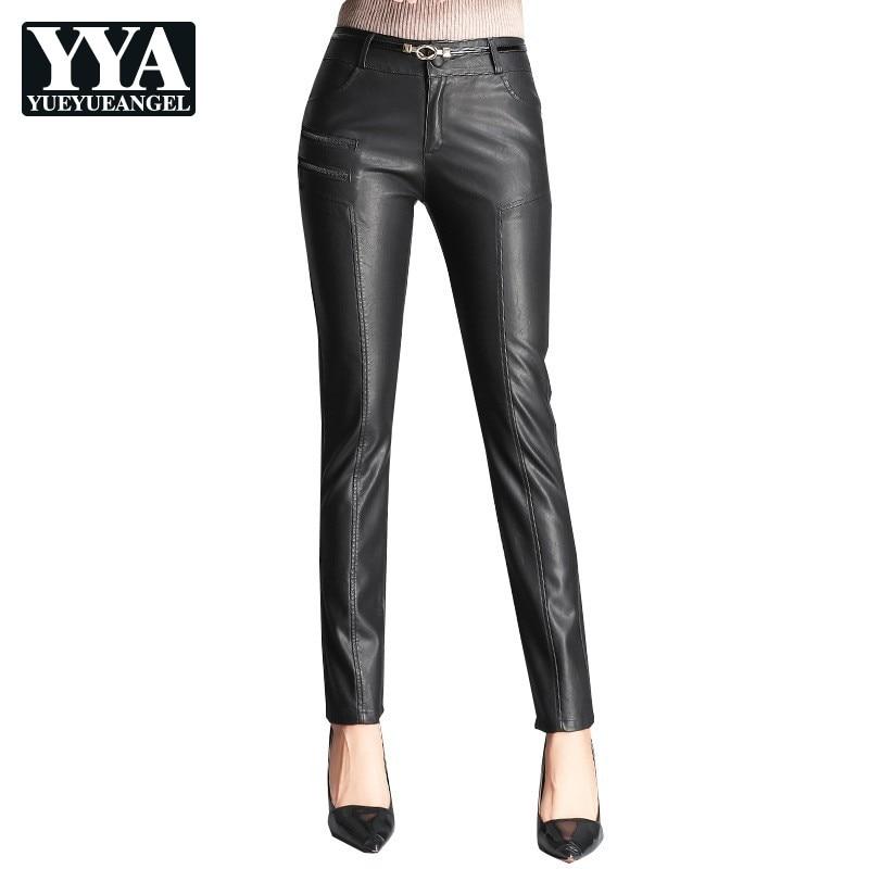 2019 automne hiver femmes PU cuir pantalon Zipper Skinny Slim mode Faux cuir pantalon femmes taille moyenne noir crayon pantalon