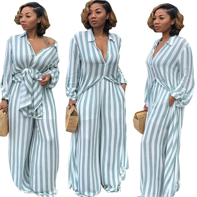 a2229804 US $24.19 45% OFF|Women's Two Piece Sets Leisure Trouser Suits Long Shirt  Top and Wide Leg Pants Set Autumn Matching Sets Outfit Tracksuit Women-in  ...