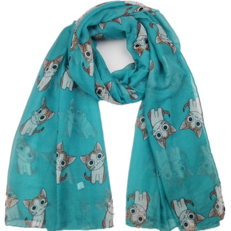 2020 Fashion Lovely Animal Cute Cat Pattern Viscose Shawl Scarf Lady Kids Wrap Newborn Echarpe Foulards Snood Muslim Hijab Sjaal