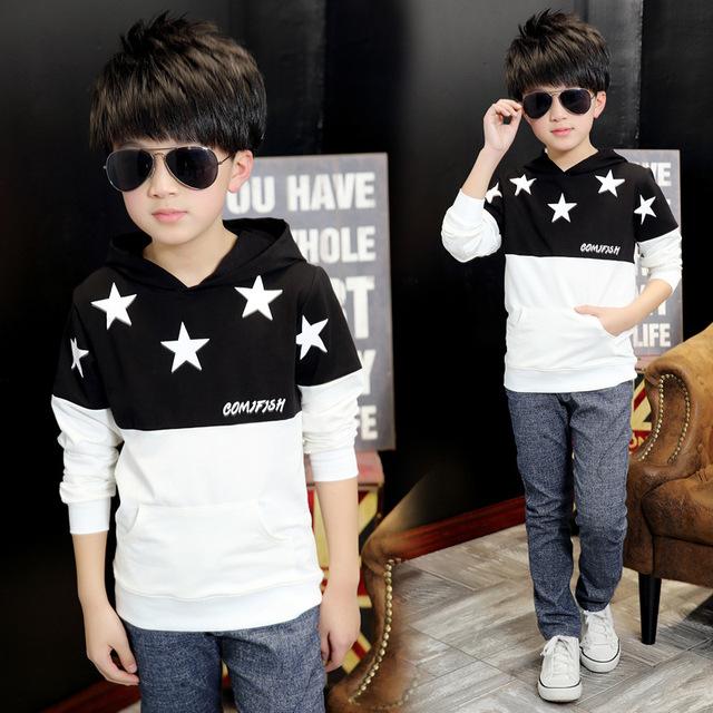 Venda quente Estrelas Impresso Meninos Camisolas Crianças Jaqueta Casaco Moletom Com Capuz Camisola do Pulôver Exteriores Frete Grátis
