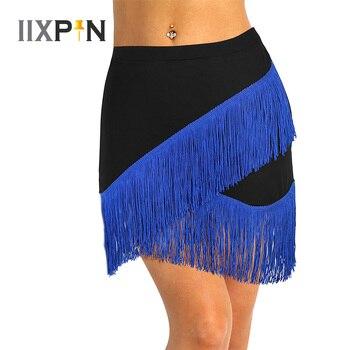 Iixpin mulher dança latina saia elástica cintura franja fluindo sexy borlas latina saia tango rumba dancewear exercício saias