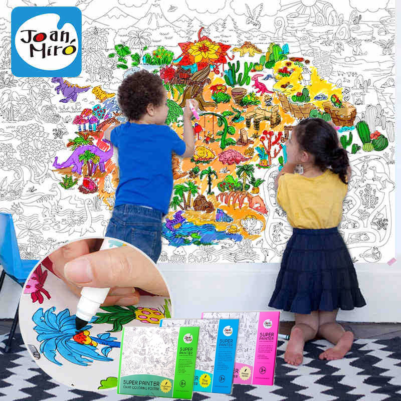 1.15*0.80m Children's coloring book scene painting theme painting graffiti coloring Miaohong this baby Great drawing paper 1.15m