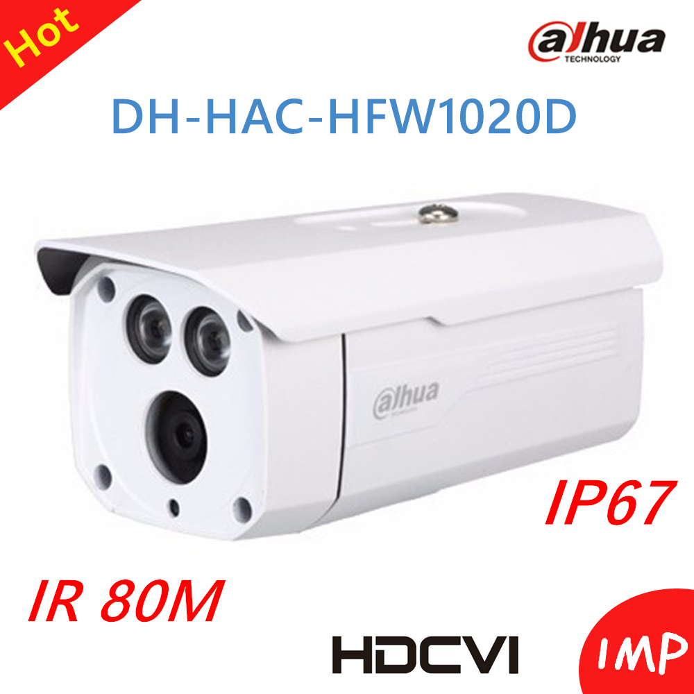 Hot Wholesale Dahua HDCVI camera 1Mp 720P Outdoor Waterproof Bullet Camera DH-HAC-HFW1020D Smart IR 80m Support ICR dahua hdcvi 1080p bullet camera 1 2 72megapixel cmos 1080p ir 80m ip67 hac hfw1200d security camera dh hac hfw1200d camera