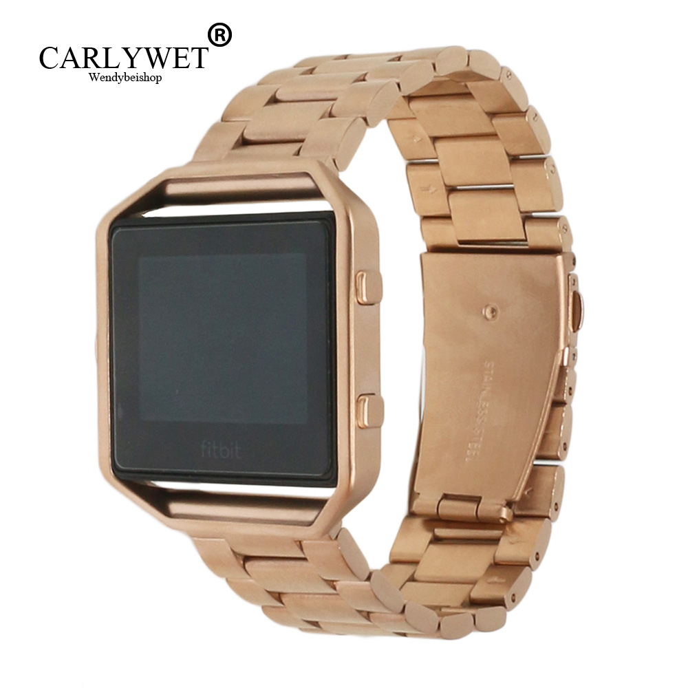 CARLYWET 23mm Rose Gold Stainless Steel Replacement Watch Strap Belt Bracelet With Case Metal Frame For Fitbit Blaze 23 Watch stainless steel watch band 18mm 20mm 22mm 24mm for orient safety clasp strap loop belt bracelet black rose gold silver tool