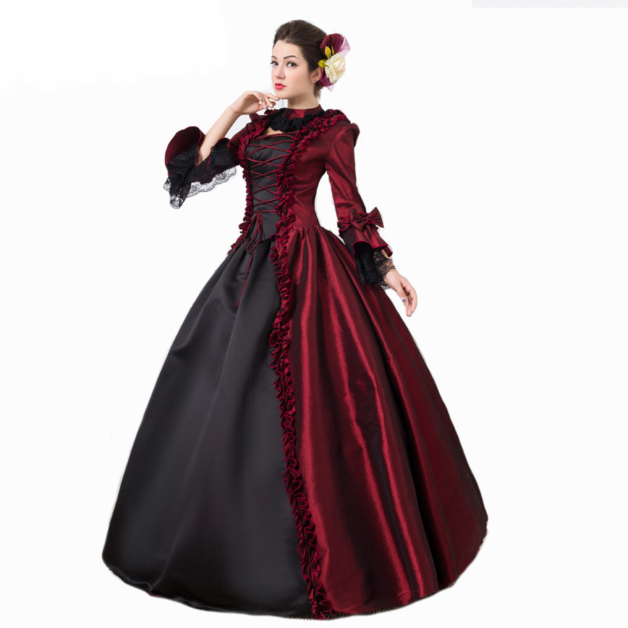 Gothic Burgundy and Black Victorian Dress Long Renaissance Vampire Theatre Ball Gown Clothing