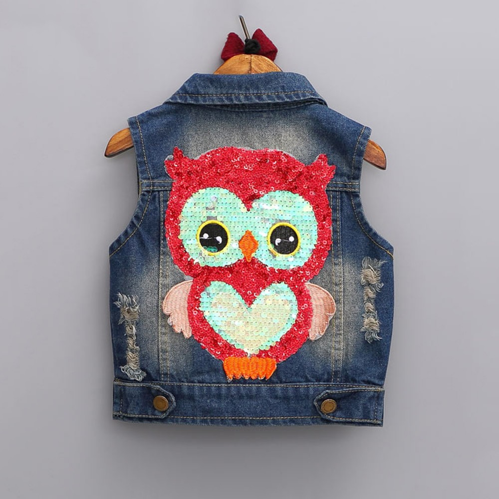 de053ea6a9d SONGGUIYING A76 Girls Outerwear Autumn Girls Clothes Children Cartoon Owl  Cowboy Coat Cowboy Waistcoats Length Jackets Vest