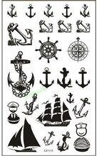 Etiqueta Do Tatuagem Temporária à prova d' água compass anchor veleiro adesivos tatto flash tatoo tatuagens falsas para as mulheres menina homens criança