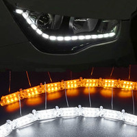 2Pcs Car Flexible Switchback LED Knight Rider Strip Light For Headlight Sequential Flasher DRL Flowing Amber