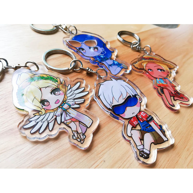 50pcs one design personalized 5cm clear keychain Charm Anime Keychian Victor acrylic badge holder with any