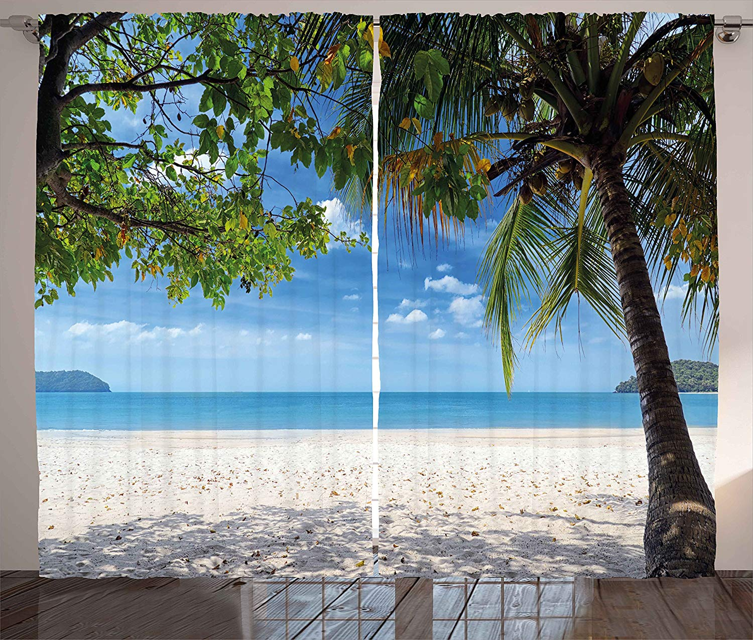 Exotic Beach: Summer Curtains Tropical Beach Ocean Behind Palm Tree